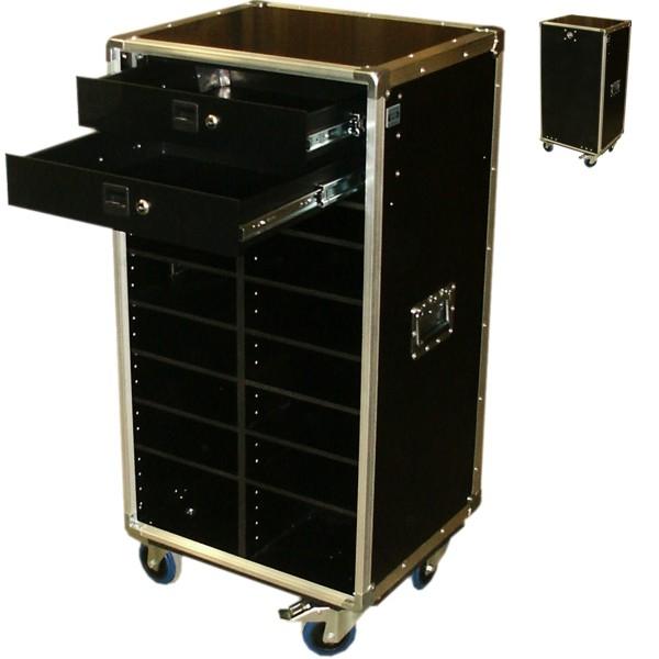 """Schrankcase """"Profi"""" für Prospekte mit zwei Schubladen und Fächern BxTxH: 530 x 455 x 1088 mm"""