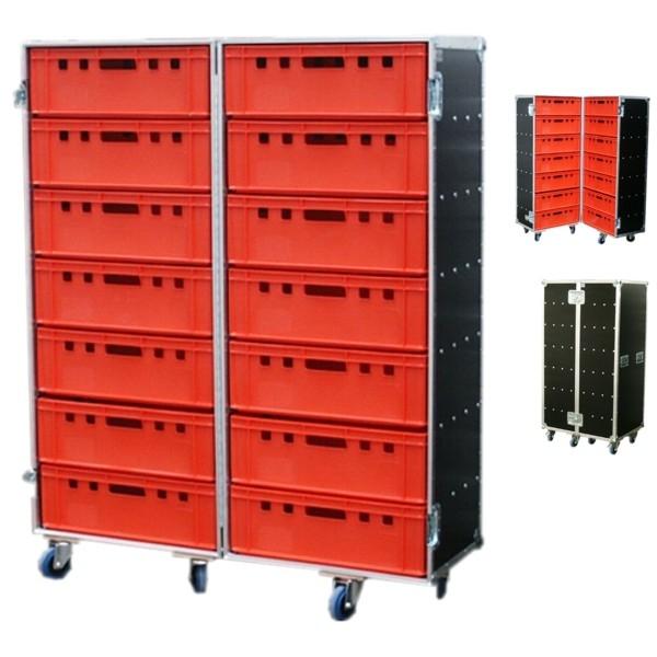 """Flightcase """"Profi"""" für 14 Euro-Norm-Boxen BxTxH: 647 x 840 x 1615 mm"""