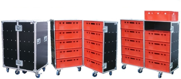 """Flightcase """"Profi"""" für 10 Euro-Norm-Boxen BxTxH: 647 x 840 x 1201 mm"""