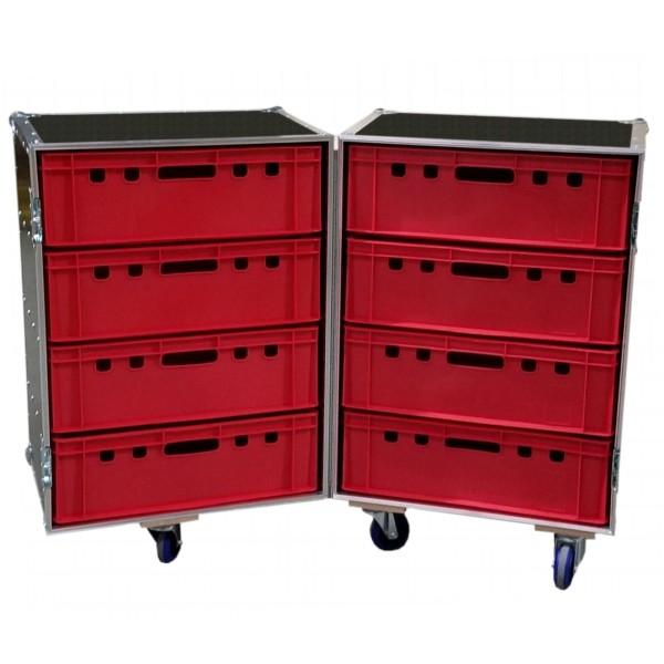 """Flightcase """"Profi"""" für 8 Euro-Norm-Boxen BxTxH: 647 x 840 x 996 mm"""