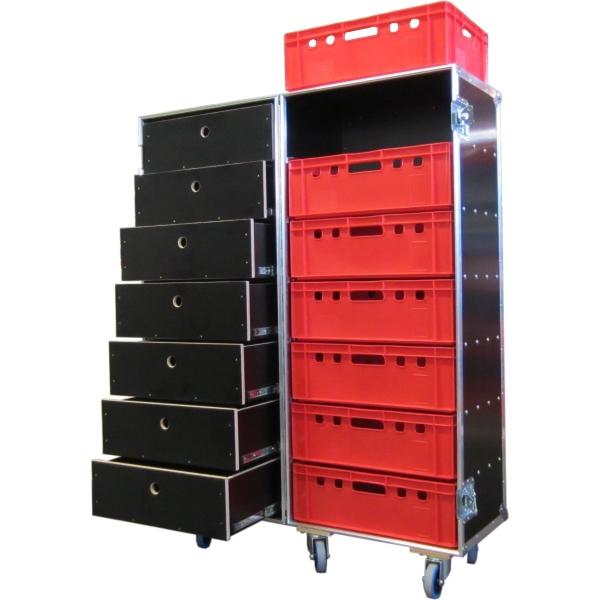 """Flightcase """"Profi"""" mit sieben Schubladen und sieben Euro-Norm-Boxen BxTxH: 647 x 840 x 1615 mm"""