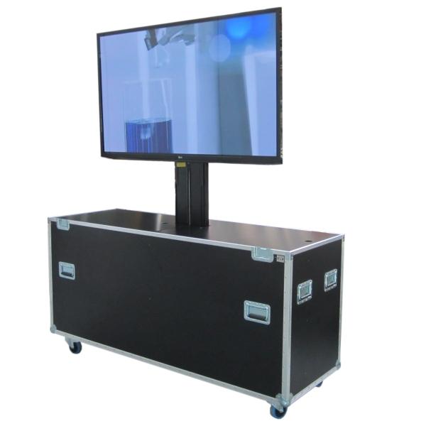 Flightcase mit elektrischem Lift für Displays bis ca. 55' (ohne Display) BxTxH: 1430 x 640 x 1253 mm