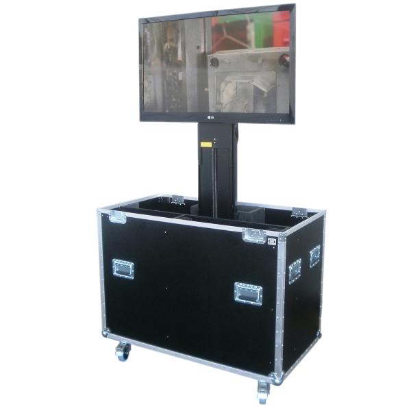 Flightcase mit elektrischem Lift für Displays bis ca. 42' (ohne Display) BxTxH: 1170 x 640 x 1253 mm