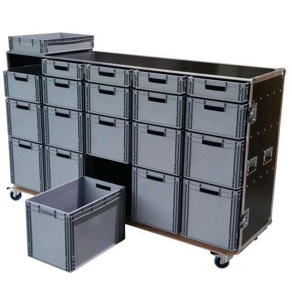 "Schrankcase ""Profi"" mit 20 Euro-Boxen BxTxH: 2137 x 645 x 1278 mm"