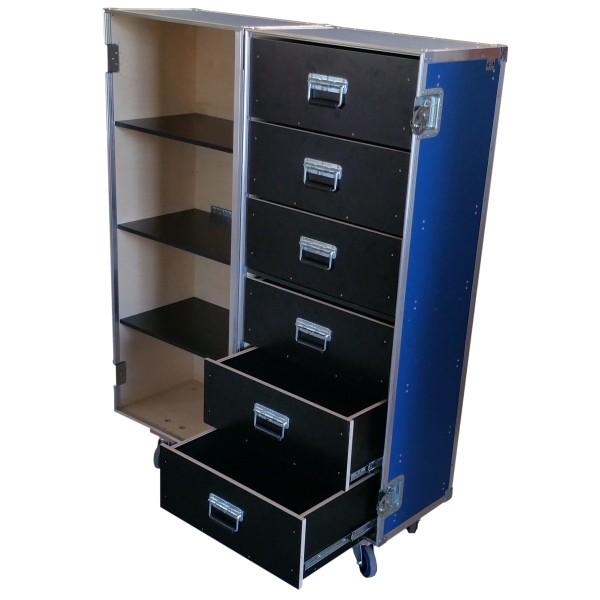 """Flightcase """"Profi"""" mit Fachböden für Ordner und Schubladen BxTxH: 637 x 830 x 1608 mm"""