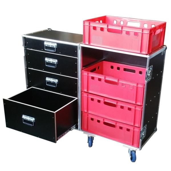 """Flightcase """"Profi"""" für 4 Euro-Norm-Boxen rechts und vier Schubladen links BxTxH: 647 x 840 x 994 mm"""