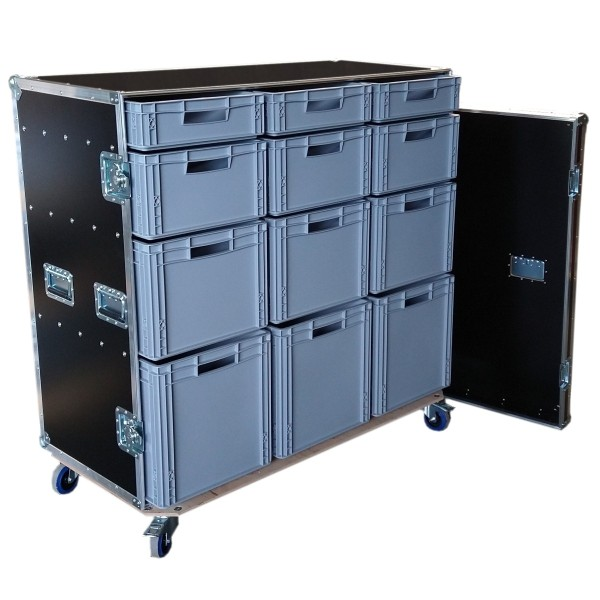 "Schrankcase ""Profi"" mit 12 Euro-Boxen BxTxH: 1293 x 645 x 1278 mm"
