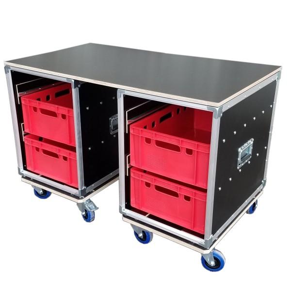 """Tisch bestehend aus 2 Schrankcases""""Profi"""" mit Fontplatte und mit je 2 Euro-Norm-Boxen BxTxH: 455 x 6"""