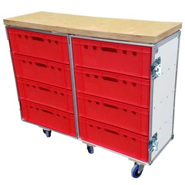 """Flightcase """"Profi"""" für 8 Euro-Norm-Boxen mit Arbeitsplatte BxTxH: 637 x 830 x 1031 mm"""