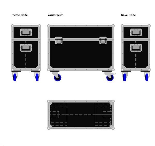 """Flightcase für zwei 32' Displays """"Economy"""" BxTxH: 920 x 409 x 775 mm"""