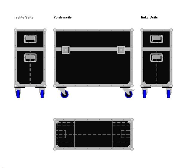 """Flightcase für zwei 37' Displays """"Economy"""" BxTxH: 1010 x 409 x 875 mm"""