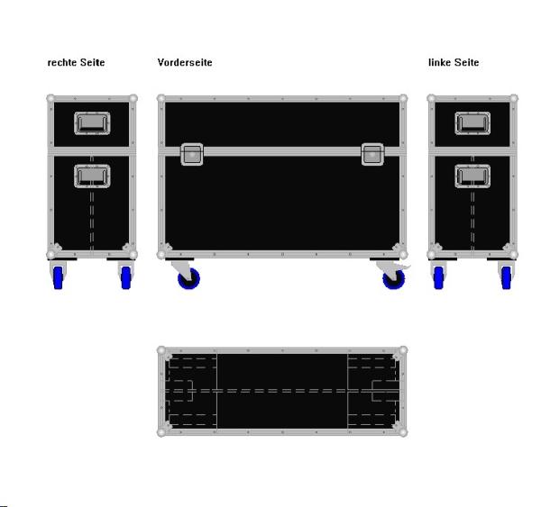 """Flightcase für zwei 40' Displays """"Economy"""" BxTxH: 1120 x 409 x 875 mm"""