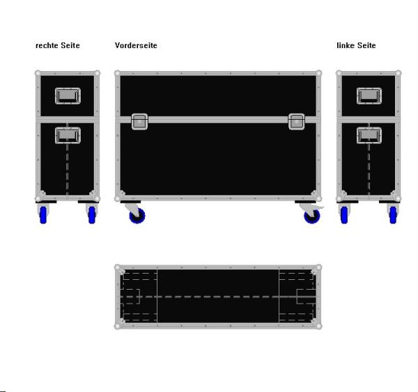 """Flightcase für zwei 47' Displays """"Economy"""" BxTxH: 1290 x 409 x 955 mm"""