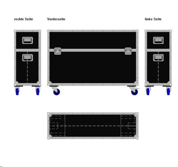 """Flightcase für zwei 50' Displays """"Economy"""" BxTxH: 1360 x 409 x 975 mm"""