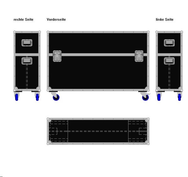 """Flightcase für zwei 55' Displays """"Economy"""" BxTxH: 1540 x 415 x 1045 mm"""