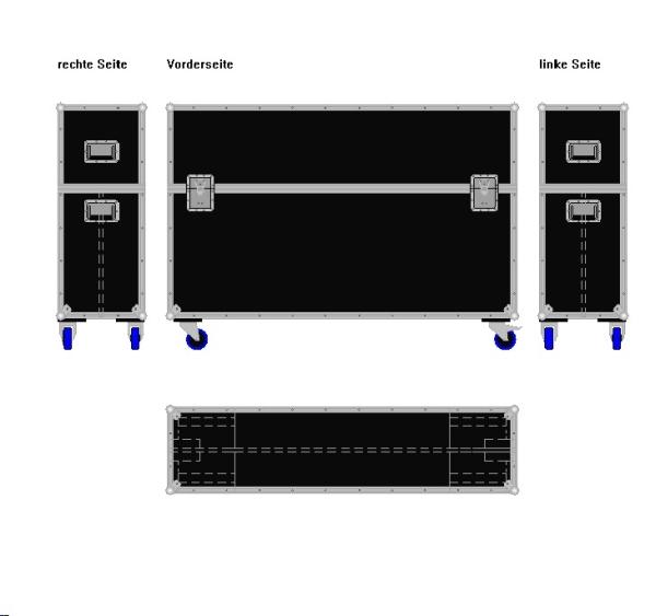 """Flightcase für zwei 60' Displays """"Economy"""" BxTxH: 1610 x 415 x 1123 mm"""