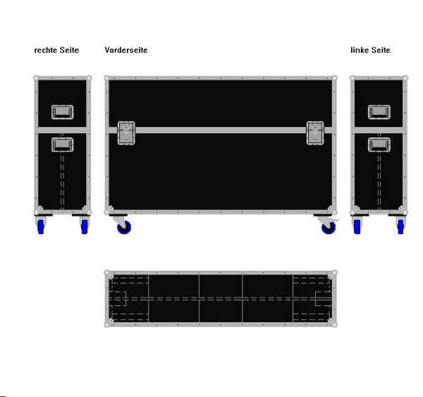 """Flightcase für zwei 63' Displays """"Economy"""" BxTxH: 1650 x 415 x 1125 mm"""