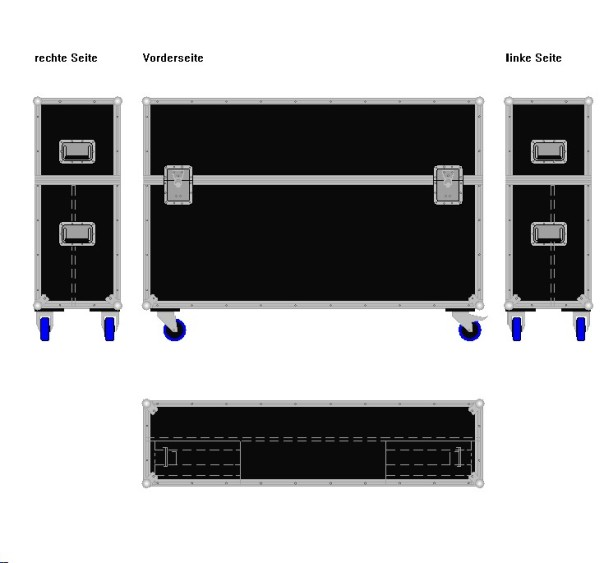 "Flightcase für ca. 50-60' Displays ""Variabel"" BxTxH: 1490 x 390 x 1065 mm"