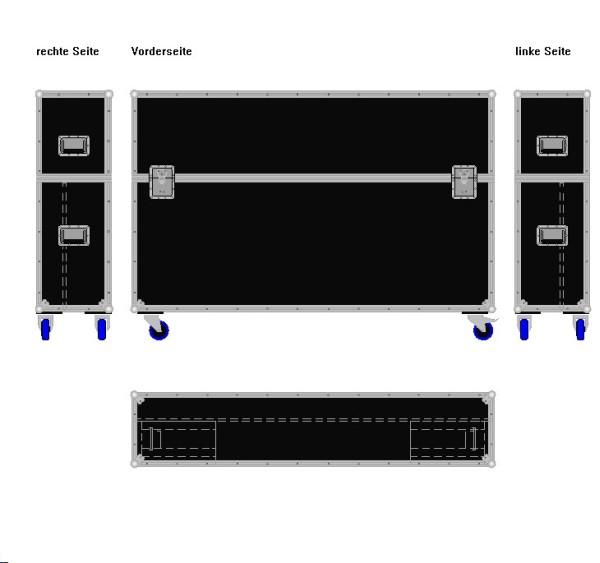 "Flightcase für ca. 65-75' Displays ""Variabel"" BxTxH: 1820 x 390 x 1245 mm"