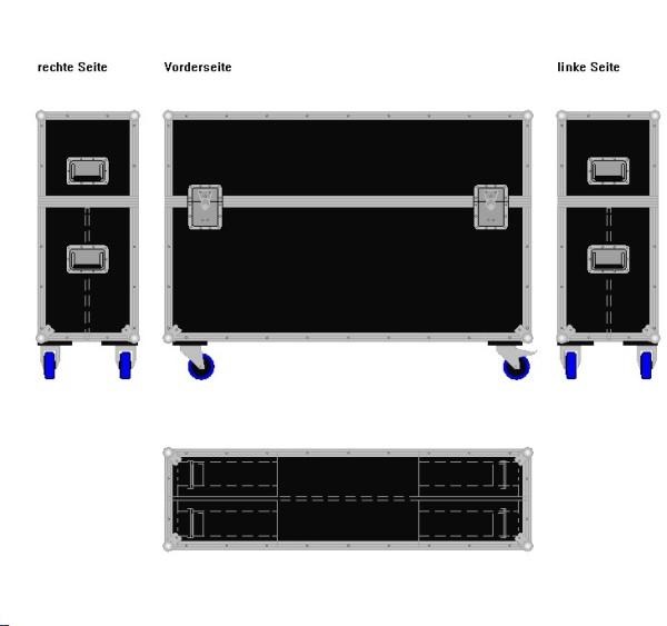 """Flightcase für zwei ca. 45-55' Displays """"Variabel"""" BxTxH: 1380 x 390 x 1005 mm"""