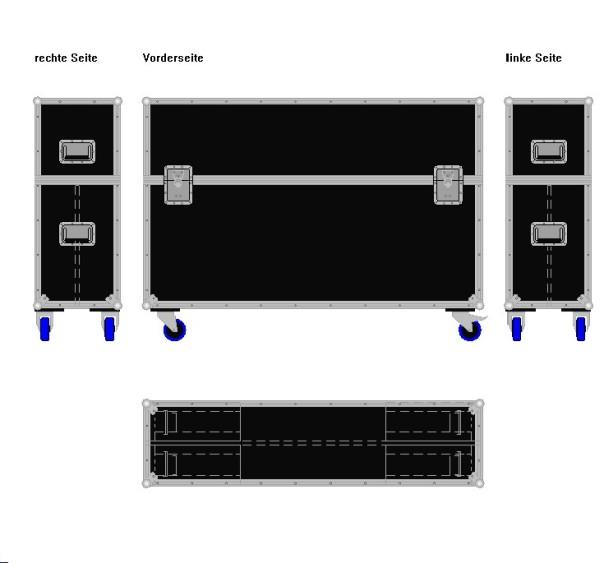 """Flightcase für zwei ca. 50-60' Displays """"Variabel"""" BxTxH: 1490 x 390 x 1065 mm"""