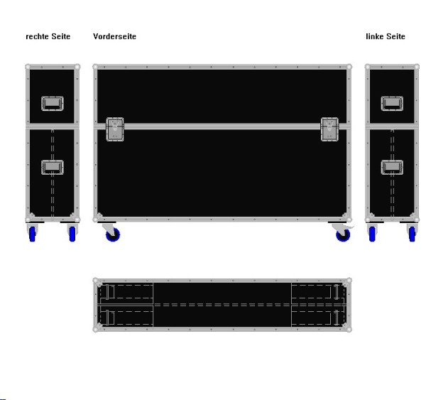 """Flightcase für zwei ca. 65-75' Displays """"Variabel"""" BxTxH: 1820 x 390 x 1245 mm"""