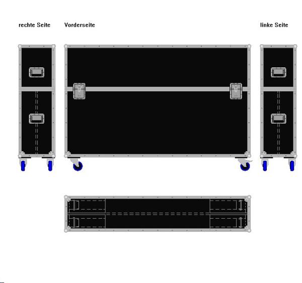 """Flightcase für zwei ca. 70-80' Displays """"Variabel"""" BxTxH: 1930 x 390 x 1305 mm"""
