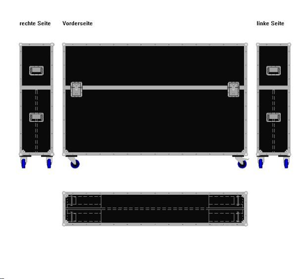 """Flightcase für zwei ca. 75-85' Displays """"Variabel"""" BxTxH: 2040 x 390 x 1375 mm"""