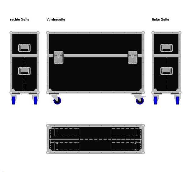 """Flightcase für zwei ca. 40-50' Displays """"Variabel"""" BxTxH: 1270 x 390 x 943 mm"""
